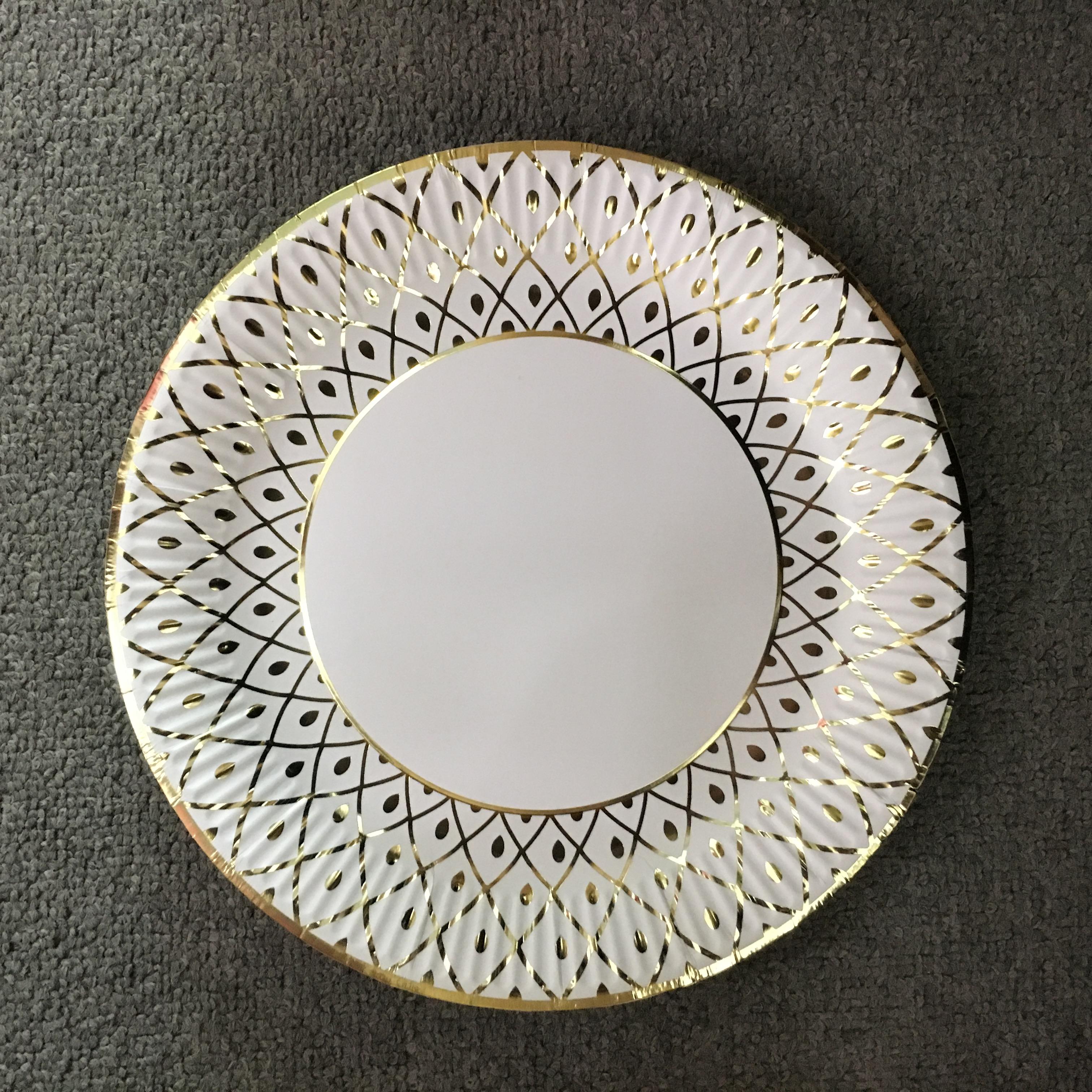 烫金花纹纸盘纸碟餐盘